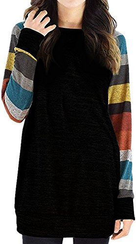 Women's Color Block Long Sleeve Sweatshirt Cotton Jersey Tunic Tops (58% Off)