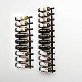 VintageView Wall Series (7 Ft) - 21 Bottle Wall Mounted Wine Bottle Rack Kit (Satin Black) Stylish Modern Wine Storage with Label Forward Design