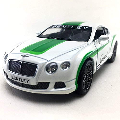 2012 Bentley Continental GT Speed with Decals Hard Top, Silver w/ Blue - Kinsmart 5369DF - 1/38 Scale Diecast Model Toy Car but NO Box