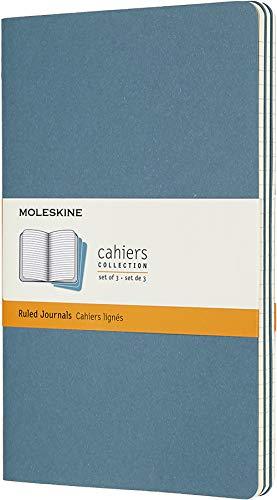 Moleskine Cahier Journal, Set 3 Quaderni con Pagina a Righe, Copertina in Cartoncino e Cucitura a Vista, Colore Blu Vivace, Dimensione Large 13 x 21 cm, 80 Pagine