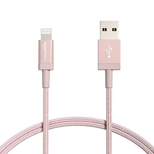 Amazon Basics - Cable Lightning a USB-A de nailon trenzado, cargador certificado...