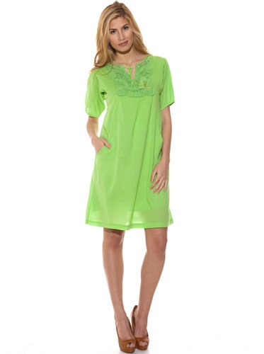 Peace & Love Vestido Liso Crochet Verde L