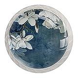 qfkj Tirador de la Perilla del cajón 4 Piezas El cajón del gabinete de Vidrio de Cristal Tira Las perillas del Armario,Arte Blanco Flor de Magnolia Retro