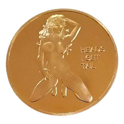 zhiwenCZW Sexy Woman Coin Get Tails Head! Adult Challenge Lucky Girl Gedenkmünzen Sammlung Gold Challenge Coin