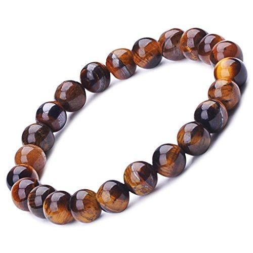 Unendlich U Cool Damen Herren Unisex Buddha Armband Armreif, 9mm Energie-Stein Kugeln Perlen Gebet Mala Stretch Energiearmband, Braun