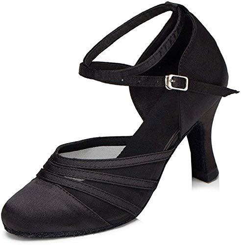Naudamp Damen Closed Toe High Heel Satin Mesh Salsa Latin Tango-Tanzschuhe