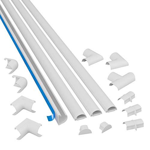 D-Line 3015KIT001 Mini, Selbstklebender, Runder Weißer Kabelkanal, 30x15 mm, 4 x 1 m Länge - 4 Meter Multipack