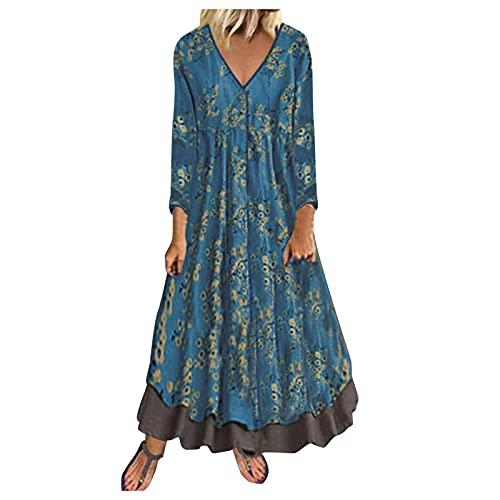 Fossen MuRope El algodón y el lino vestidos de verano largos ocasionales 2019 de manga larga de impresión para Mujeres Navy Blue - C XXL