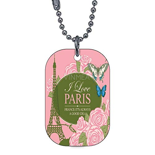 Personalized Collar Tag Pet ID Tags for Dog and Cat Eiffel Tower Roses and Butterfly -Pattern On The Front, Your Info On The Back