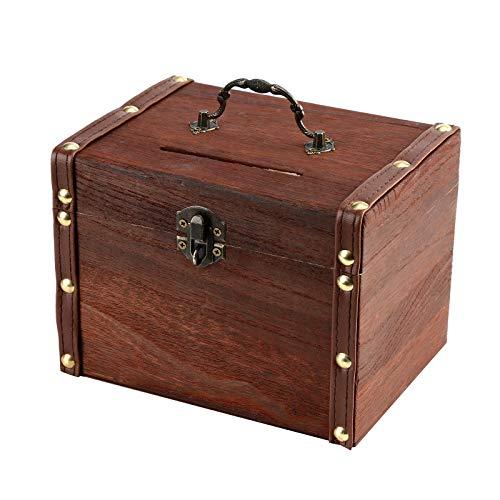 Kleine Geldkassette mit Schlüsselschloss - Spardose Handarbeit, Große Holz Sparschwein Safe Spardose, Sparbüchse mit Schloss Holz Schnitzkiste