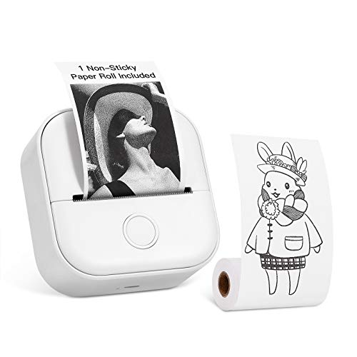 Memoking T02 Kleiner Drucker - Schwarzweiß-Bluetooth-Tragbarer Mini-Sofortbild-Fotodrucker für Journal Diary Creation-Geschenkkinder, kompatibel mit iOS und Android, Weiß