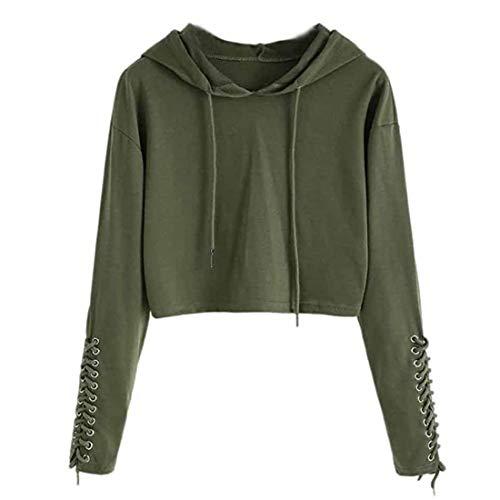 Damen Hoodie Bluse einfarbig lose Pullover Crop Top Sweatshirt Kurze lässige...
