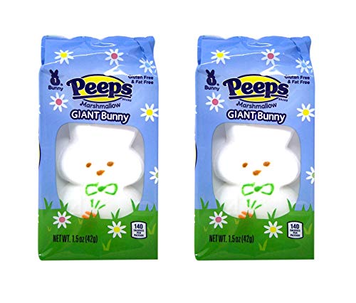 Peeps Marshmallows Giant Easter Bunny Rabbit Gluten and Fat Free Candy Easter Gift Basket Stuffers for Kids and Toddlers, 1.5 Ounces, Pack of 2 Bunnies
