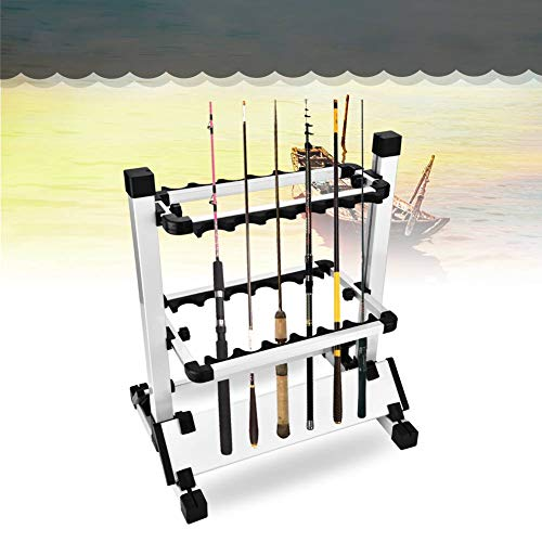 AYNEFY Portacanne da Pesca, Removibile Supporto Canne da Pesca Leggero Stand Organizer Rack Scaffale da Pesca Lega di Alluminio Organizzatore Salvaspazio per Canna da Pesca per 12 Canne