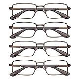 EFE Reading Glasses 4 Pack Adjustable Spring Hinge Quality Readers for Men, Lightweight Eyeglasses (Brown, 2.5)