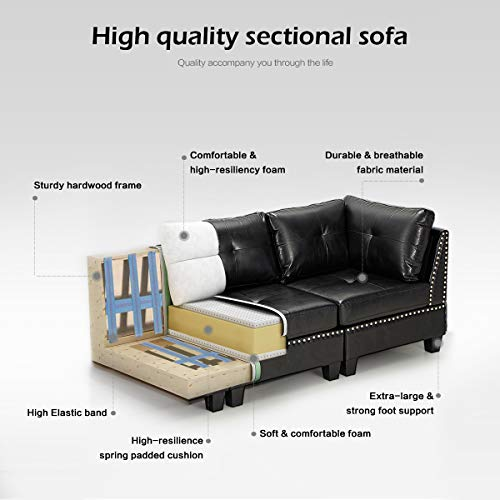 """Esright 88.6"""" Convertible Sectional Sofa Couch with Ottoman, Modern Tufted Faux Leather L-Shaped Couch with Reversible Chaise, Suitable for Office,Living Room and Hotel Lobby, Black"""