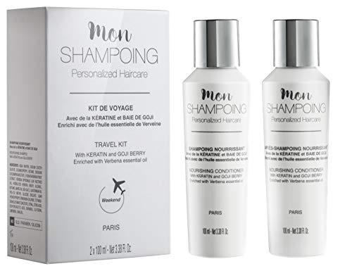 Mon Shampoing - Kit de Voyage Naturel : Shampoing + Après Shampoing - Sans SLS/Sans Paraben/Sans Silicone - Kératine & Baie de Goji - Enrichi à l'Huile Essentielle Verveine - 2x100 ml - Format Cabine