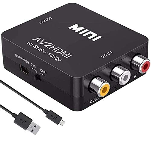 RCA to HDMI, AV to HDMI,Meekwds 1080P Mini RCA Composite CVBS AV to HDMI Video Audio Converter Supporting PAL/NTSC with USB Charge Cable for PC Laptop Xbox Wii PS2 PS4 PS3 TV STB VHS VCR Camera DVD