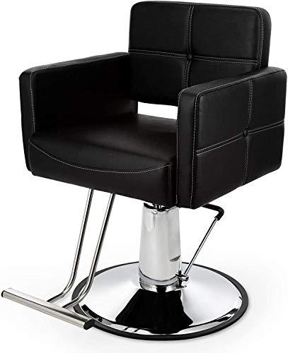 VONLUCE Sedia da Barbiere per Parrucchiere Poltrona da Barbiere Regolabile Girevole in Pelle PU Sedia da Salone Reclinabile Idraulica Capacità di 150 kg