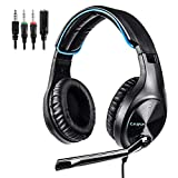 LETTON Gaming Headset for PS4, PC, Xbox, Noise Cancelling Lightweight Headphones with Mic, Bass Surround, Durable Soft Memory Earmuffs (Blue) (Renewed)