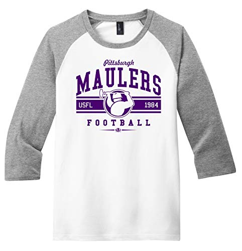 Throwbackmax Pittsburgh Maulers 3/4 Sleeve Raglan 1984 USFL Football Tee Shirt - Any 2 Tees for 33 (XL) White