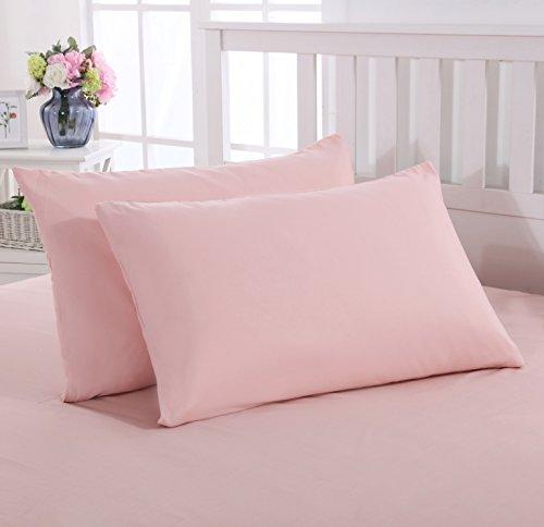 Mohap Lot de 2- Taies d'oreiller 50x70cm Rose Housse d'oreiller avec Une Fermeture éclair en Microfibre