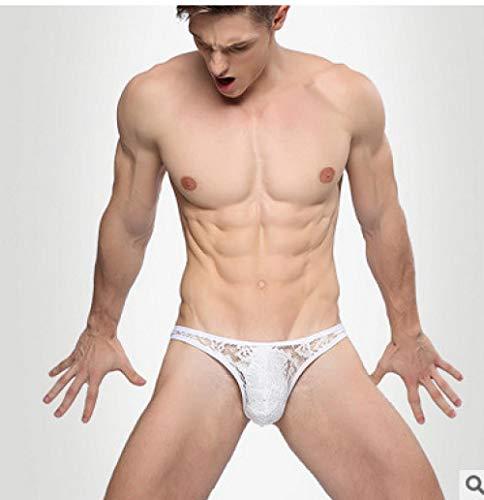 DLDLDL Women's Bodysuits Women's Nightdresses & Nightshirts Men's Sexy Lingerie Underwear Lace Sexy Perspective Briefs Bikini Dew JJT Pants-White_XXL