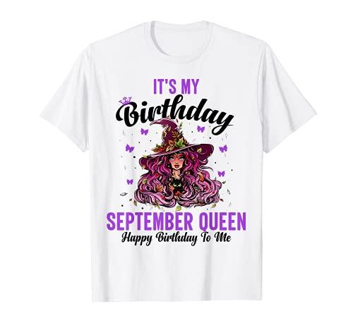 It's My Birthday September Queen Feliz Cumpleaños Halloween Camiseta