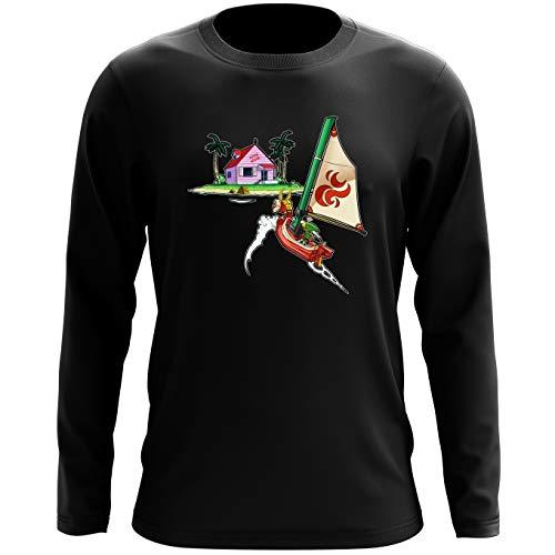 T-Shirt à Manches Longues Noir Dragon Ball Z - Zelda parodique Link et la Kame House : La découverte d'une Nouvelle île. (Parodie Dragon Ball Z - Zelda)