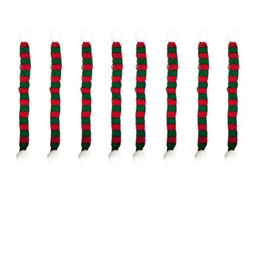 Amosfun 8 stücke 1x23 cm Weihnachten Mini schal DIY Hairball gestrickte Puppe Kleidung zubehör Flasche Halstuch Little pet Decor (rot und grün)