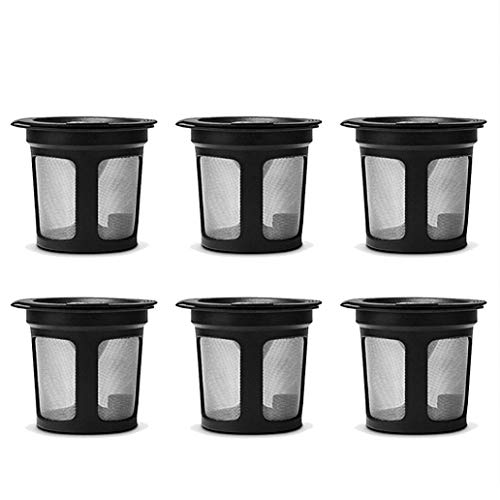 pzkwmfv 6Pcs Plastic Eco-friendly, Easy to Clean, Reusable, Refillable K-Cup Coffee Filter Pod for Keurig K50 K55 Coffee Maker -Black