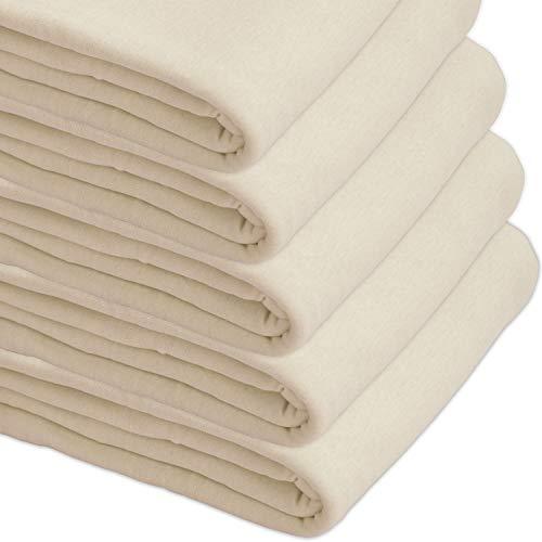 Nurtextil24 Sofaüberwurf Elastisch Baumwolle Bettüberwurf (viele Variante verfügbar) Couch Überwurf Creme 240 x 250 cm
