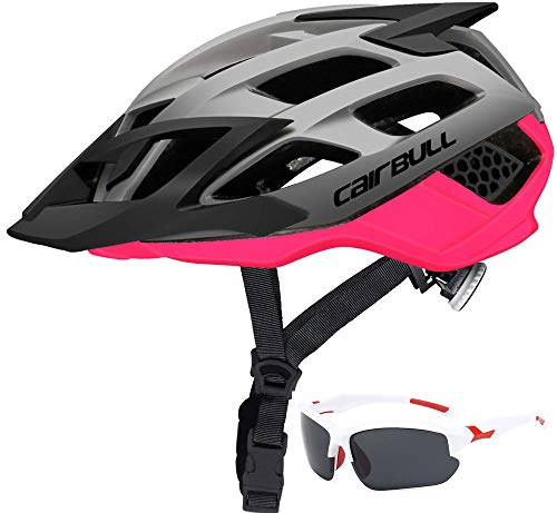 Bike Helmet Lightweight Bicycle Helmets Adjustable Cycle Helmet Adult with Detachable Visor And Goggles 20-22 Inch 21-24 Inch for Road Bike Mountain Bicycle Riding Safety Mens Women BMX Riding ,Pink,M