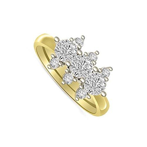 0.51ct G/SI1 Diamante Trilogy Anello da Donna con Rotonda Brillante diamanti in 18kt Oro Bianco e Giallo