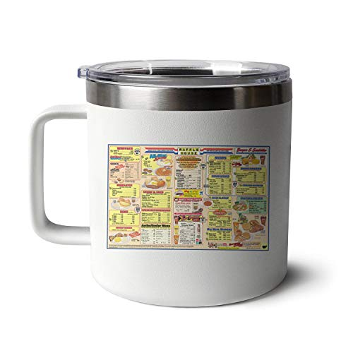 Stainless Steel Coffee Mug Waffle-House-Menu-Good-Food-Fast- Insulated Mugs with Handle Travel Cup