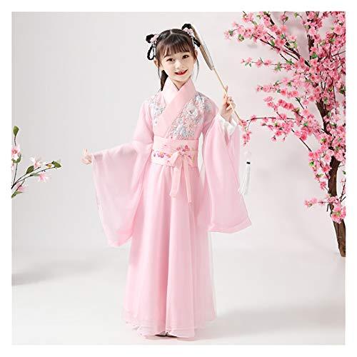 Primavera y verano Niñas Perfumado Miel Floral Gasa Infantil Hanfu Chino Impresión Digna Y Elegante (Color: Estilo A, Tamaño: 110 cm)