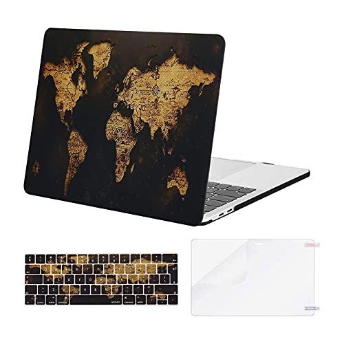 MOSISO Funda Dura Compatible con MacBook Pro 13 Pulgadas 2020-2016 A2338 M1 A2289 A2251 A2159 A1989 A1706 A1708, Carcasa Plástico&Cubierta de Teclado&Pantalla Protector,Oro Mapa Mundial