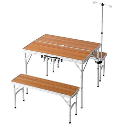 ENDLESS BASE アウトドアテーブル 5点セット ベンチ2脚 幅90cm 折りたたみ コンパクト 高さ調節 ランタンハンガー付き ナチュラル 44400100 00 【74905】