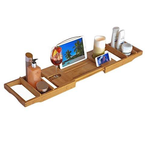 Badkuipplank, badkuip-organizer, uittrekbaar, bamboe, caddy, bridge, verstelbare badkuip, spa van hout, uittrekbaar, met boekenstandaard