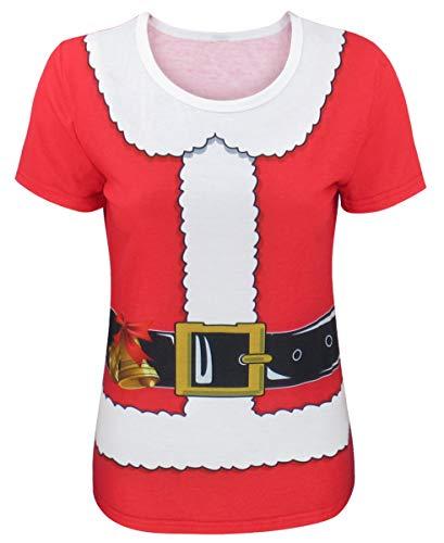 COSAVOROCK Disfraz de Papá Noel Mujer Camiseta de Navidad (XXL, Rojo)