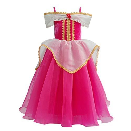 Lazzboy Kostüme Kleinkind Baby Kinder Mädchen Schulterfrei Tüll Party Kleid Cosplay Prinzessin Kleider Brosche Dornröschen Aurora Drop Shoulder (Pink,Höhe:110)