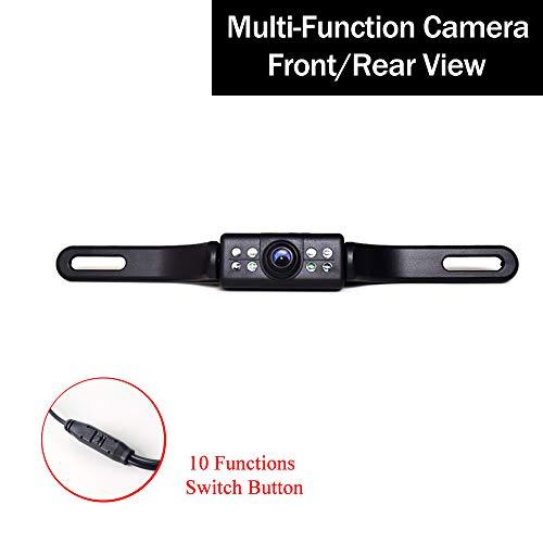 12-24V KFZ Kennzeichen Rückfahrkamera Multifunktionale Kamera: Rückfahr/Front, PAL/NTSC, Rasterlinien Distanzlinie ON/Off, 8 LED Automatik Nachtsicht 170 Grad Einparkhilfe