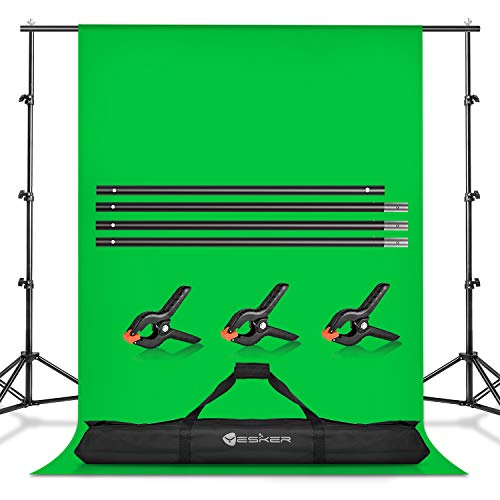 Yesker Photo Video Studio 8.5 x 10ft Green Screen Backdrop Stand Kit, Photography Background Support System with 6 x9ft Muslin Chromakey Backdrop for Portrait,Product Photography and Video Shooting