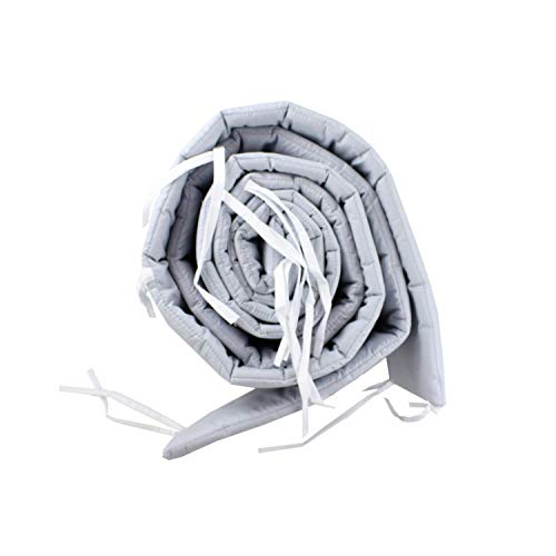 TupTam Babybett Bettumrandung Lang Gemustert, Farbe: Grau, Größe: 420x30cm (für Babybett 140x70)
