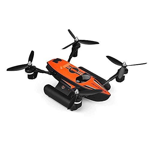 Mare, veicolo spaziale anfibio terrestre e aereo, drone telecomandato a 2,4 GHz, aeroplano modello quadricottero, semplice operazione di ritorno con un pulsante, luci a LED colorate (colore: arancione