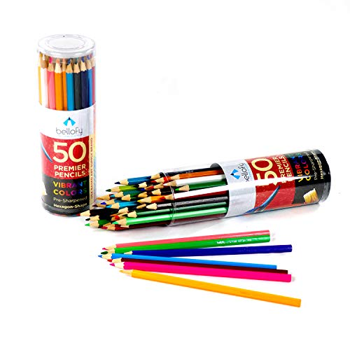 50 Colored Pencils for Adults & Kids - Coloring Pencils Set for Adult & Kids Coloring Books - Pre-Sharpened, Vibrant Color Pencils for Adult Coloring, Artists and Beginners