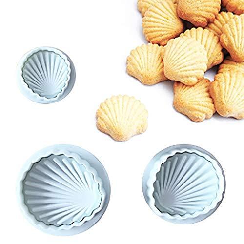 Taottao Lot de 3 moules en plastique en forme de coquillage pour cookies, fondants, gâteaux