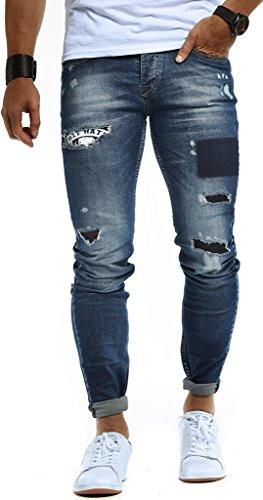 Leif Nelson Vaqueros para Hombre Pantalones Jeans LN-9940 Azul W33/L30