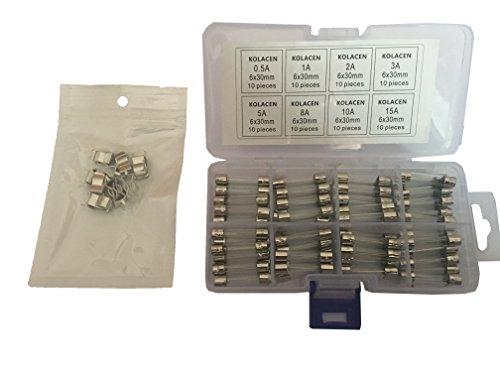 KOLACEN Fusibile rapido per tubo di vetro ad azione rapida 6 x 30 mm Kit assortito 0.5Amp 1Amp 2Amp 3Amp 5Amp 8Amp 10Amp 15Amp (confezione da 80) + 10 pezzi Portafusibile con fusibile