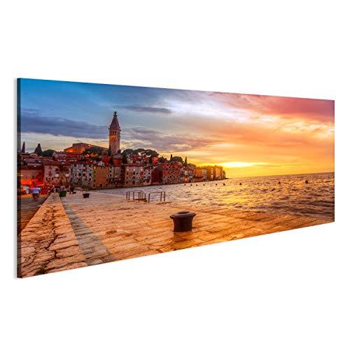 bilderfelix® Acrylglasbild Schöner Sonnenuntergang in Rovinj an der Adriaküste von Kroatien Wandbild Bild auf Glas